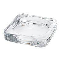 """ИКЕА """"ГЛАСИГ"""" Тарелка для свечи, прозрачное стекло, 10*10см."""
