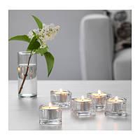 """ИКЕА """"ГЛАСИГ"""" Подсвечник для греющей свечи, прозрачное стекло, 5*5см. / 5шт."""