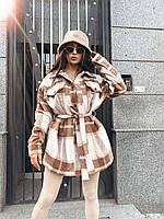 Женское теплое пальто - рубашка в клетку на утеплителе с поясом и карманами 71PA296, фото 1