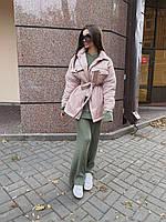 Женская осенняя куртка рубашка из плащевки на утеплителе под пояс 71KU477, фото 1