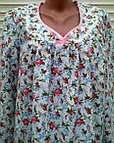 Теплая ночная рубашка из фланели 60 размер Розовые бутоны, фото 4