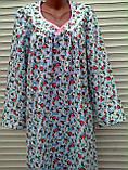 Теплая ночная рубашка из фланели 60 размер Розовые бутоны, фото 5