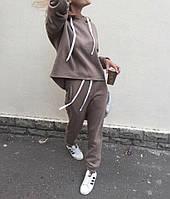 Женский утепленный спортивный костюм на флисе с асимметричным свободным худи (р. 42-44) 68SP1114, фото 1