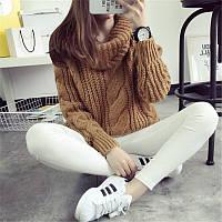 Женский вязаный свитер объемный с узорной вязкой и воротником - хомутом (р. 42-46) 83KF937, фото 1