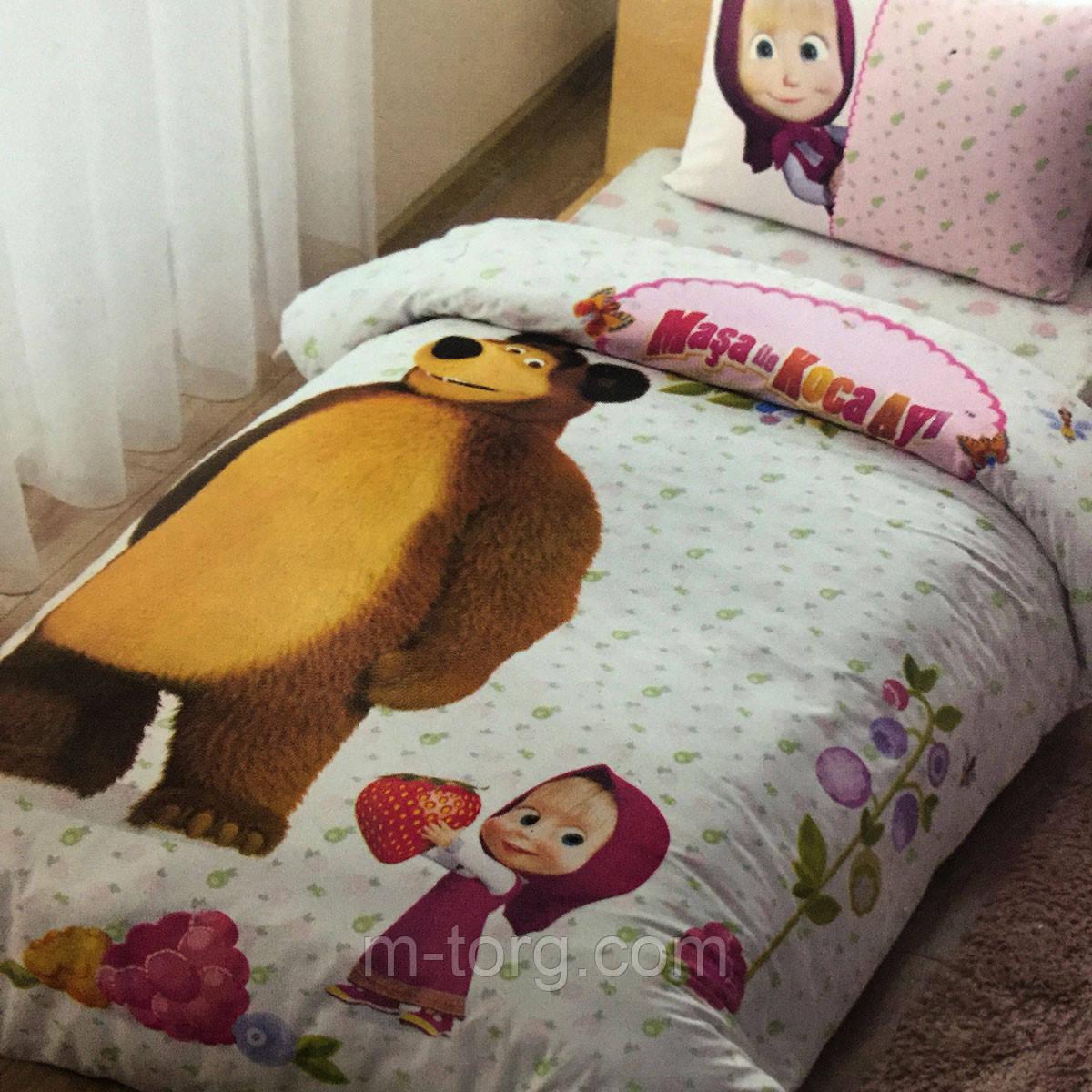 Дитяче та підліткове постільна білизна TAC Disney Маша і Ведмідь ранфорс / простирадло на гумці