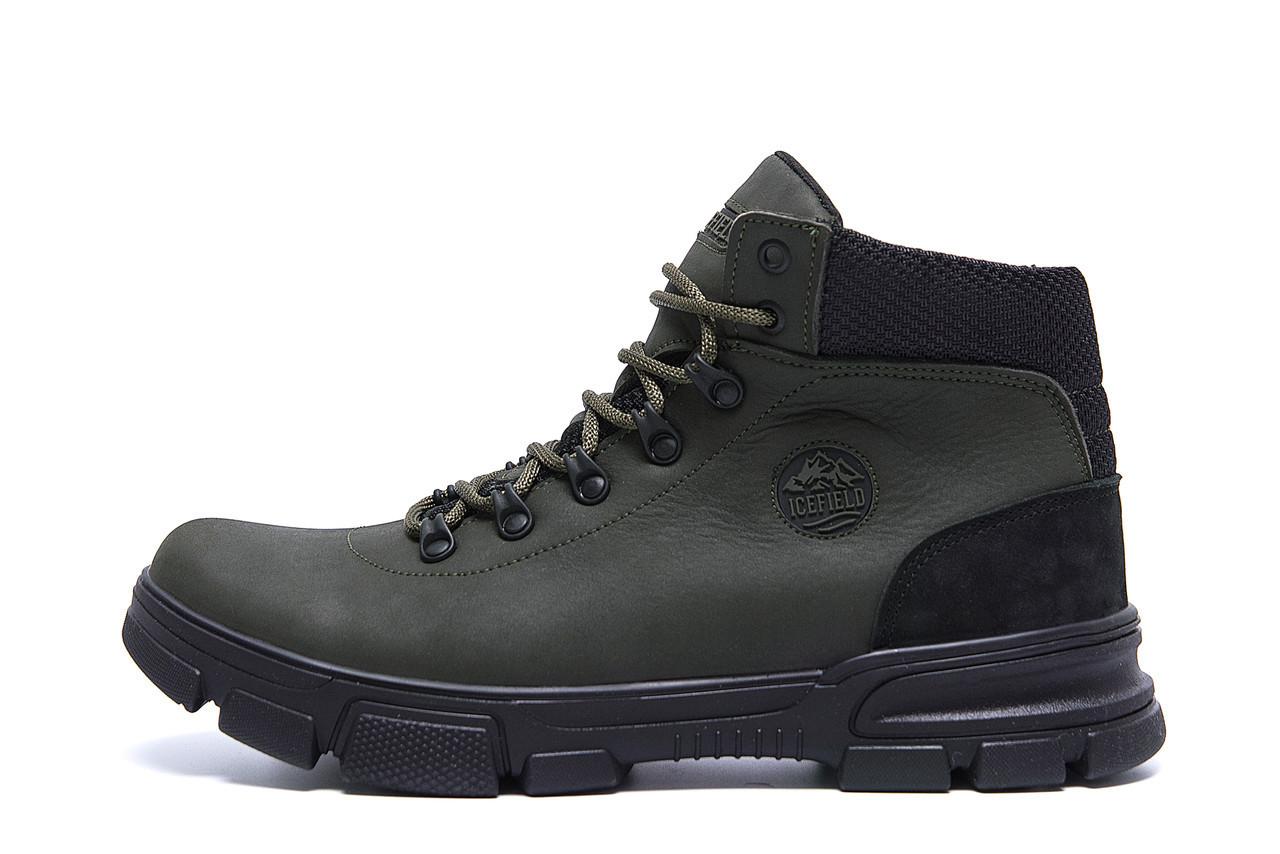 Мужские  зимние кожаные кроссовки   icefield  Olive Classic р. 40  44