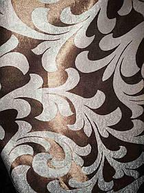 Шторы  блэкаут вензеля коричневый двухсторонний 1240