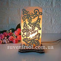 Соляной светильник Прямоугольник узор Бабочки