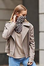 Женский шейный платок-маска серый с леопардовым принтом.