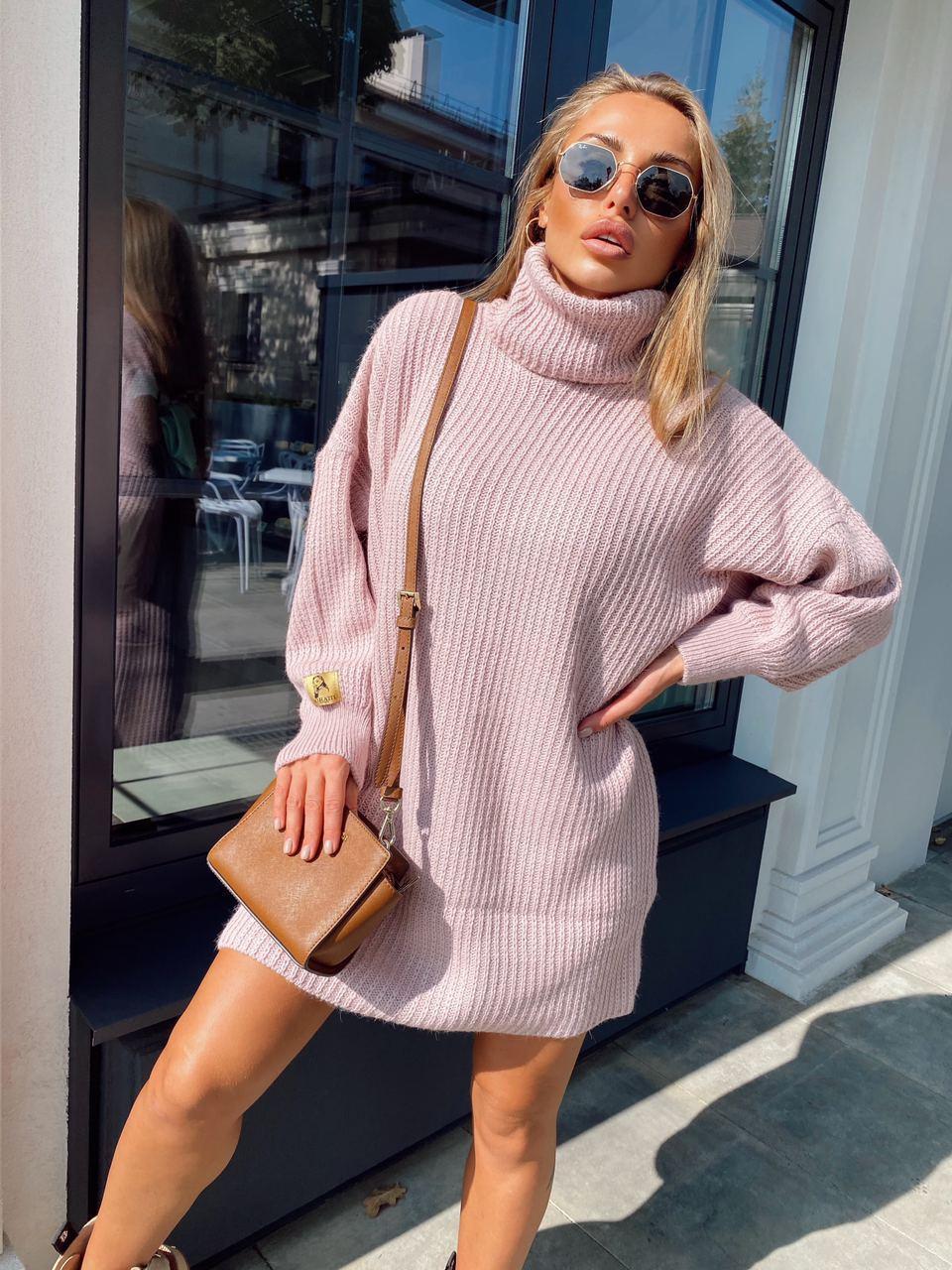 Свободное вязаное платье - туника миди с высоким горлом (р.р 40-54)  18py1640