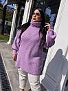 Свободное вязаное платье - туника миди с высоким горлом (р.р 40-54)  18py1640, фото 5
