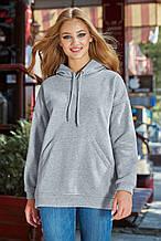 Женская длинная и широкая однотонная толстовка с карманом-кенгуру и капюшоном. Серая