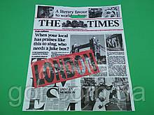 """Пакет з прорізною ручкою (42*52,5+3)""""Газета """"LONDON red"""" (50 шт)"""