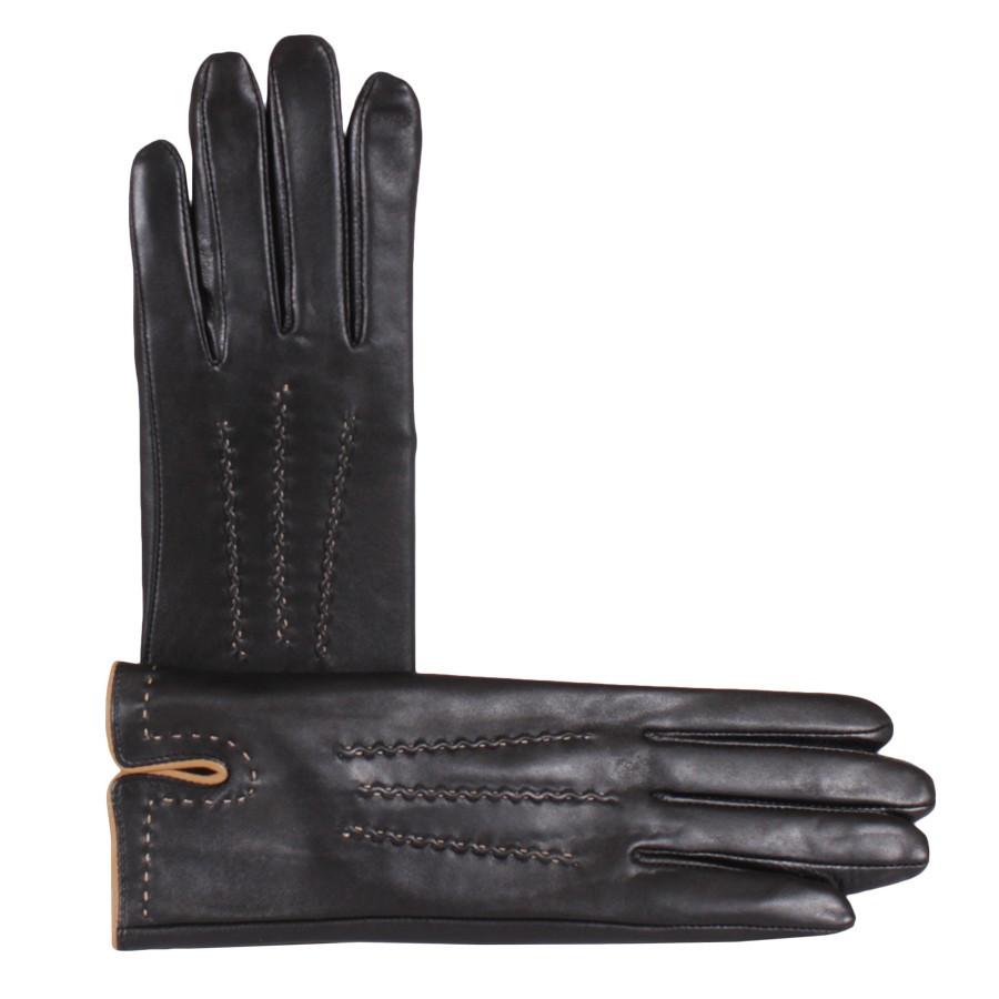 Перчатки женские кожаные de esse Черные