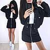 Костюм теплый женский плотная юбка с карманами и куртка пиджак, фото 5