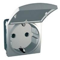 Механизм розетки с заземлением со шторками и защитной крышкой, 2модуля, Unica алюминий