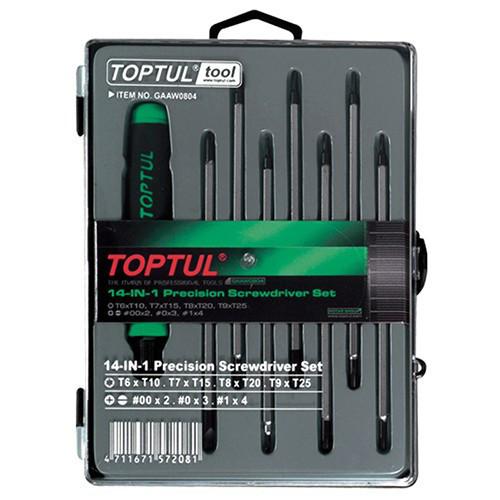 Набор отверток для точных работ 14 в 1 TOPTUL (T5-T20,PH,SL) GAAW0804