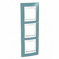 Рамка 3 поста вертикальная, Unica Plus синий/белый
