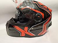 Мото шлем черно красный с очками Vland