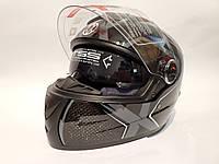 Мото шлем черно серый с очками Vland
