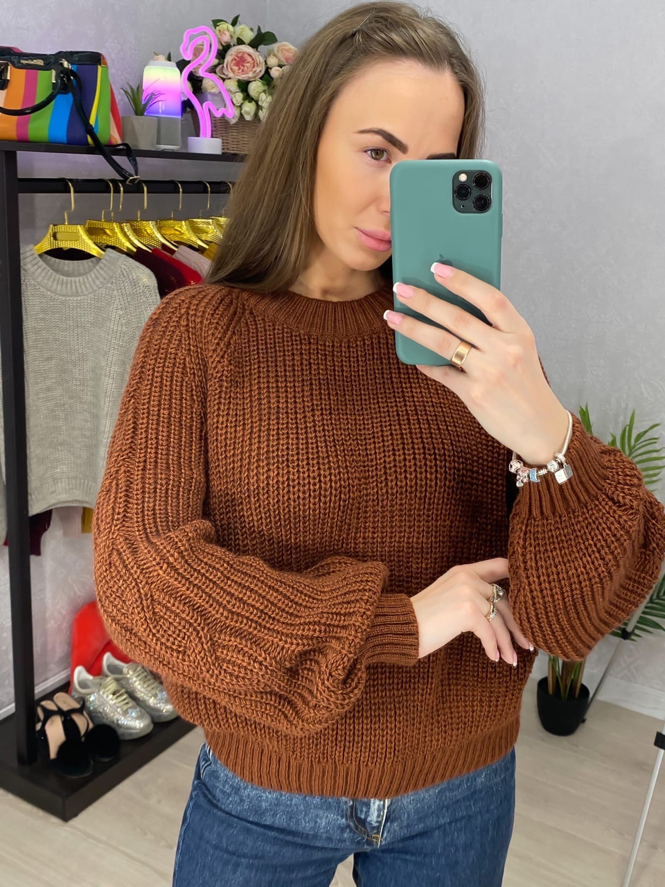 Женское вязаный свитер с рукавами фонариками (р. 42 - 46) 33dm929