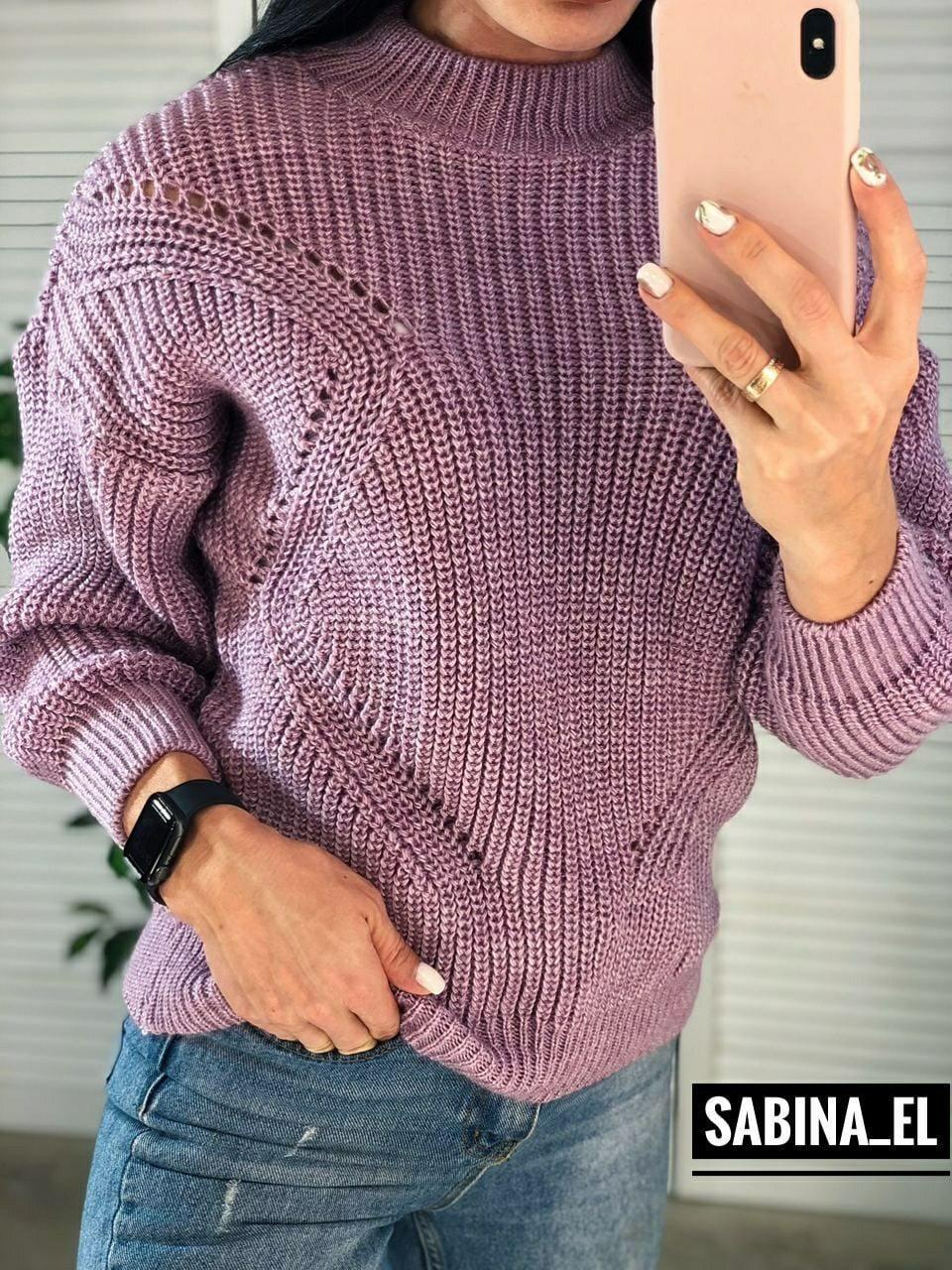 Вязаный свитер с узорами в расцветках (р. 42 - 46) 7dm932