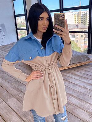 Платье - рубашка с джинсовой вставкой, на поясе кулиска (р. 42-46) 66ty1638Q