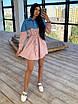 Платье - рубашка с джинсовой вставкой, на поясе кулиска (р. 42-46) 66ty1638Q, фото 2