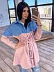 Платье - рубашка с джинсовой вставкой, на поясе кулиска (р. 42-46) 66ty1638Q, фото 4