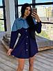 Платье - рубашка с джинсовой вставкой, на поясе кулиска (р. 42-46) 66ty1638Q, фото 5