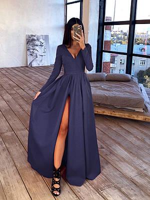 Длинное платье макси с глубоким V-вырезом и разрезом на юбке 66ty1638Е