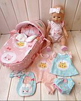 Сумка-переноска (кокон, люлька) с постелью для куклы Baby Born Toys Котики и 4 комплекта Одежды Ручная работа