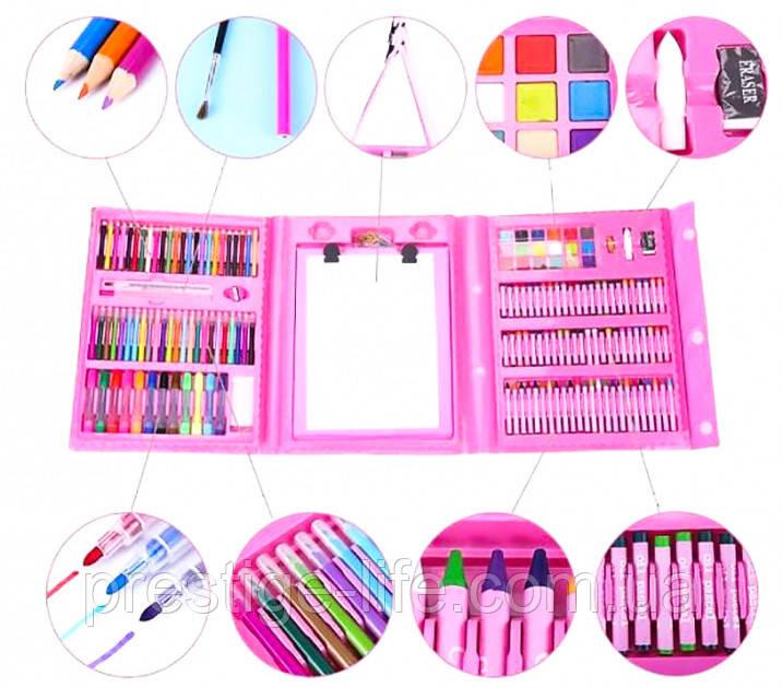 Детский художественный набор для творчества, рисования в чемоданчике (208 предметов) с мольбертом, розовый