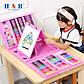 Детский художественный набор для творчества, рисования в чемоданчике (208 предметов) с мольбертом, розовый, фото 8
