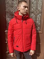 Куртка бомбер пуховик пальто зимняя короткий легкий тёплая спортивная классика молодежный красный без меха