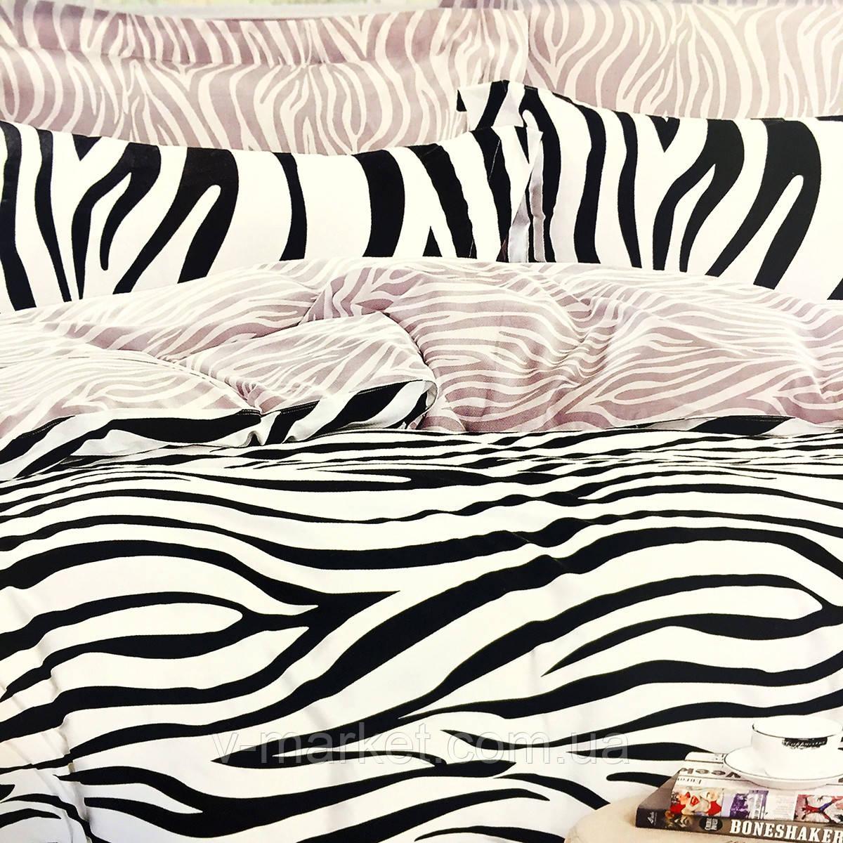 """Постельное белье черно-белое """"Зебра"""" евро размер ELWAY (Польша), 200/220 см, ткань сатин (100% хлопок)."""
