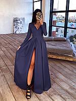 Длинное платье макси с глубоким V-вырезом и разрезом на юбке 66mpl1638Е, фото 1