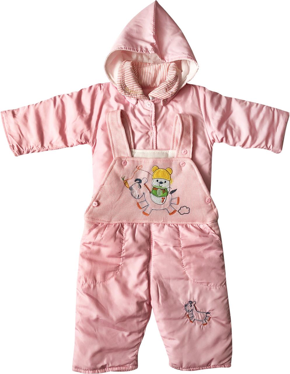 Демісезонний костюм на дівчинку ріст 68 3-6 міс для новонароджених комплект з капюшоном дитячий рожевий