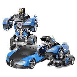 Машинка Трансформер Bugatti Robot Car Size 118 Синяя SKL11-276020