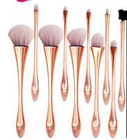 Профессиональный набор кистей для макияжа / визажа для профессионалов ELEGANT 10 штук Pink Gold