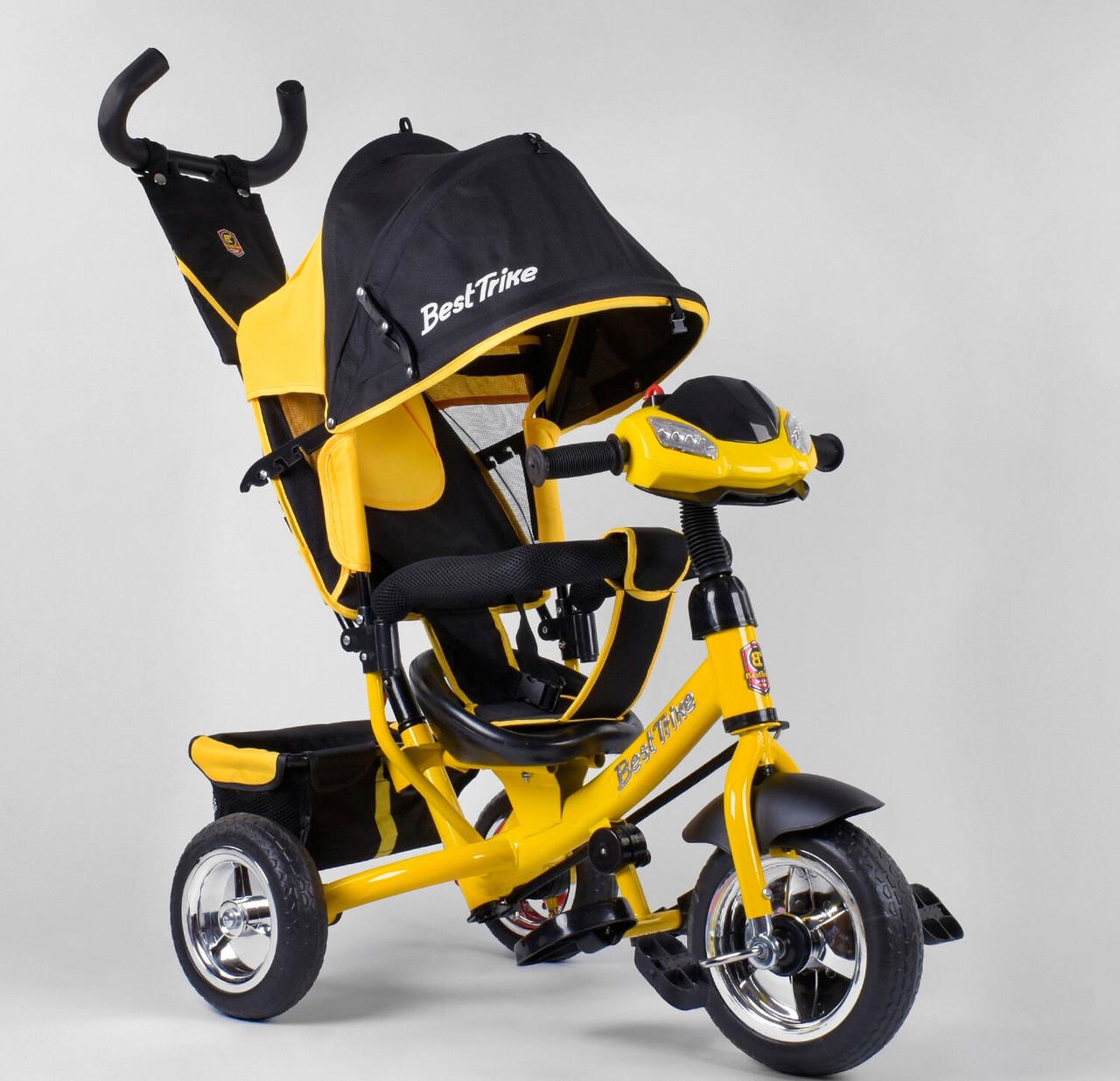 Трехколесный велосипед желтый с ручкой Best Trike 6588