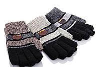 Детские перчатки оптом E16 mix Детские перчатки текстиль, двойные. Перчатки оптом