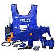 Большой набор полиции. Бронежилет, автомат, маска, часы, рация, жетон, нож, наручники, свисток 33530 Т, фото 2