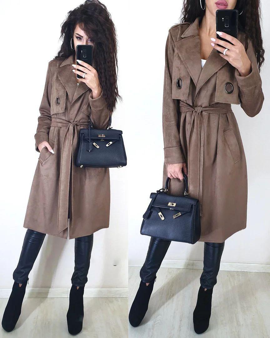 Пальто тренч ровного покроя с поясом из замши с поясом