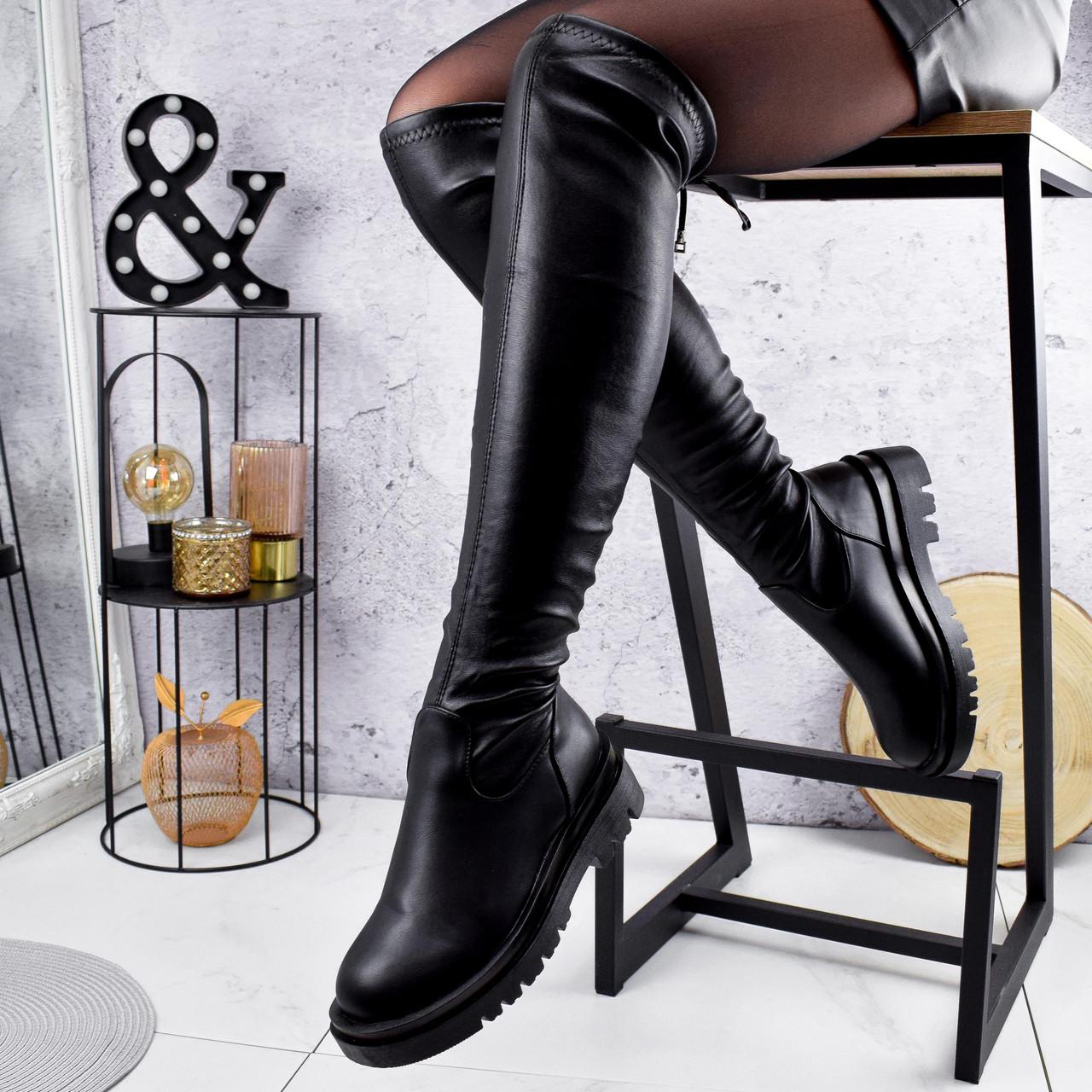 Ботфорты женские Estrella черные кожа 2280