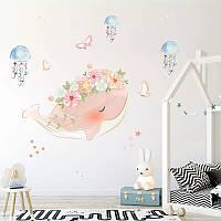 """Вінілова наклейка на стіну, шафа у ванну, дитячу кімнату """"рожевий кіт в кольорах з медузами"""" (лист 40см*60см)"""