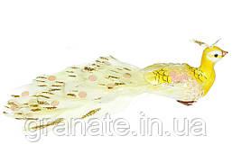 Декоративная птичка Павлин 19см (12 шт) желтый