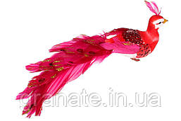 Декоративная птичка Павлин 19см (12 шт) красный