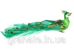 Декоративная птичка Павлин 19см (12 шт) зелёный