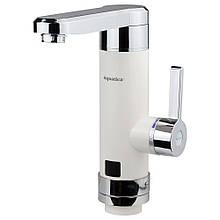 Кран-водонагрівач проточний HZ 3.0 кВт 0,4-5бар для кухні гусак прямої на гайці (W) AQUATICA (HZ-6B243W)